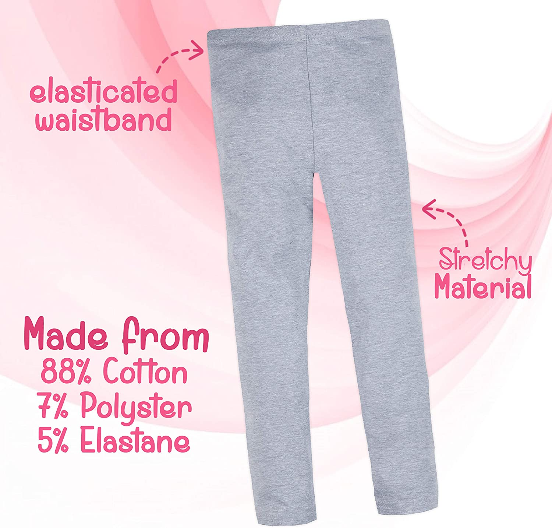 Metzuyan Childrens Kids Plain Cotton Legging Full Length Girls Summer Everyday Pants 7-13 Years