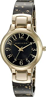 Anne Klein Women's AK/2380BKGB Easy To Read Gold-Tone and Black Resin Bangle Watch