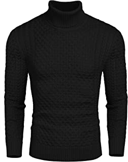 Men's Slim Fit Turtleneck Sweater Casual Knitted Twisted...