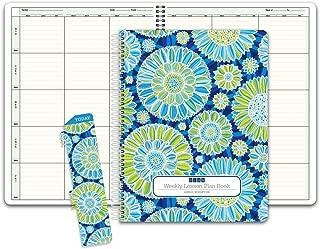 HARDCOVER 6 Period Teacher Lesson Plan; Days Vertically Down The Side (W202) (+) Bonus Clip-in Bookmark (Green Blue Flowers)