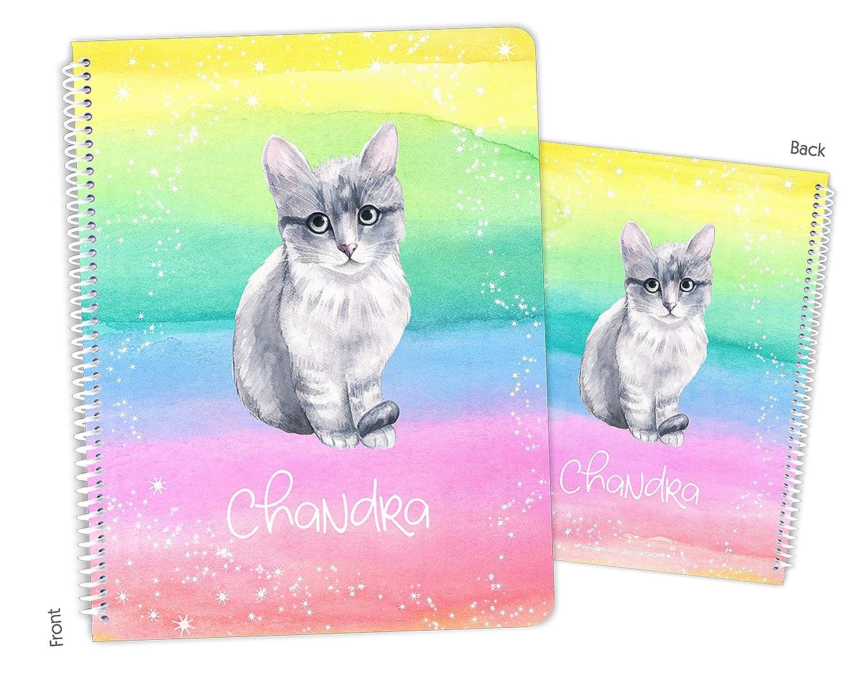 Kansas City Mall Personalized Charlotte Mall Rainbow Cat Kitten Spiral Notebook Sketchbook Bound