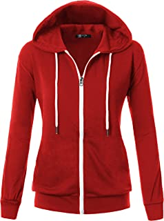 Womens Comfortable Long Sleeve Lightweight Zip-up Hoodie with Kanga Pocket(XS~4XL)