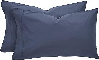 Rivet Easy Care, 100% Percale Cotton, Envelope Closure Pillowcase Set, Denim Blue, Standard, Set of 2