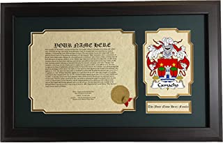 Camacho - Coat of Arms and Last Name History, 14x22 Inches Matted and Framed