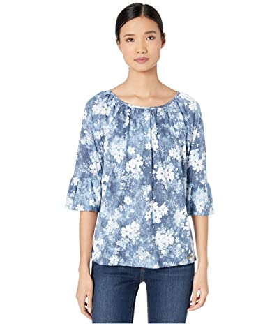 MICHAEL Michael Kors Bleached Floral Gathered Peasant (Chambray) Women