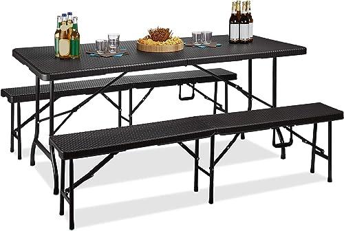 Relaxdays Ensemble de 1 table et 2 bancs jardin BASTIAN pliable terrasse pliant HxlxP : 73 x 180 x 75 cm, noir