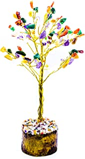 Crocon Natural Gemstone Bonsai Money Tree for Good Luck, Wealth Health & Prosperity Spiritual Gift Crystal Energy Feng Shui Home Table Decor Size 7-8 inch (Mix Chakra (Golden Wire))