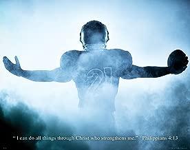 Religious Inspirtational Motivational Poster Art Print 11x14 Football Philippians 4:13 Wall Decor Pictures