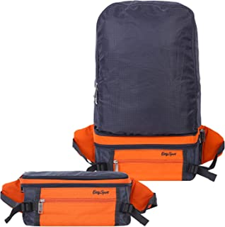 Forfar Dual-Use Waist Pack, Lightweight Foldable Backpack, Multi-Function Travel Outdoor Camping Backpack/Waist Pack, Orange