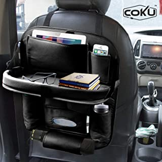Coku Universal Car Back Seat Organizer with Foldable Food Table Tray PU Leather Multi Pocket Backseat Storage with Tissue Box, Bottle, Tablet and Mobile Holder (Black)