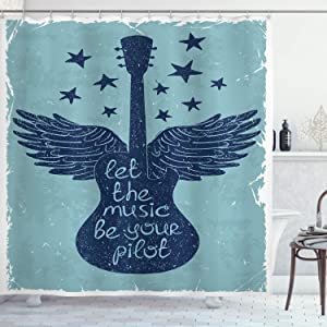 Ambesonne Music Shower Curtain, Let the Songs Be Your Pilot Words Winged Electronic Guitar and Stars in a Retro Style of Background Art, Cloth Fabric Bathroom Decor Set with Hooks, 70