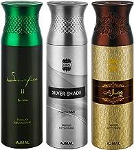 Ajmal Sacrifice II & Silver Shade & Wisal Dahab Deodorant Spray For Men 200ml each (Pack of 3, 600ml) + 3 Parfum Testers Free