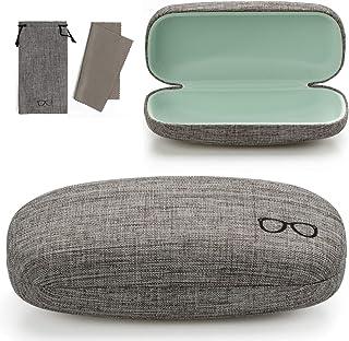 c96330651cc Vemiss Hard Shell Eyeglasses Case PU Leather Large Sunglasses Case  Lightweight Concise