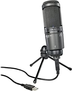 Audio-Technica AT2020USB+ Cardioid Condenser USB Microphone, Black, With Built-In Headphone Jack & Volume Control