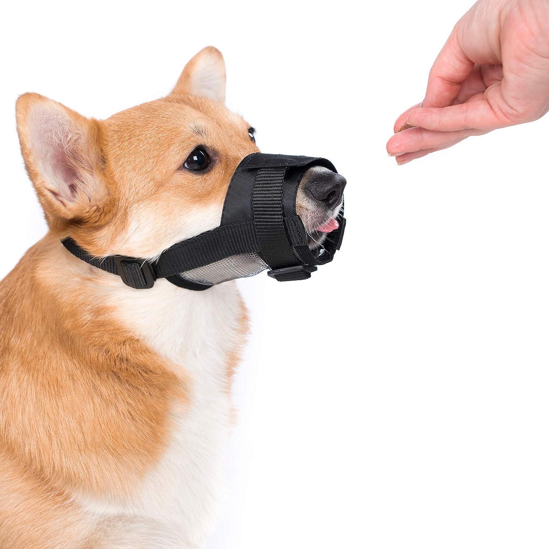 2PCS Anti-Biting Barking Adjustable Dog Muzzle Nylon Mesh Breathable Dog Mouth Cover for Small Medium Large Dogs Black Plus COLLAR Nylon Dog Muzzle