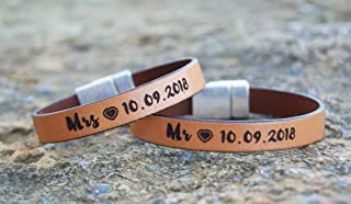 Couples Gift Idea Set of 2 Personalized Hidden Message Matching Leather Bracelets