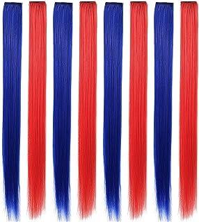 MQY 8PCS Multi Color Peluca Piezas para Niñas y Muñecas Clip In/On Extensiones de Cabello de Color (Rojo azul)