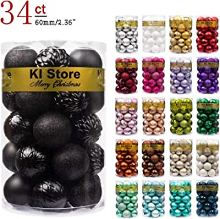 "KI Store 34ct Christmas Ball Ornaments Shatterproof Christmas Decorations Tree Balls for Holiday Wedding Party Decoration, Tree Ornaments Hooks Included 2.36"" (60mm Black)"