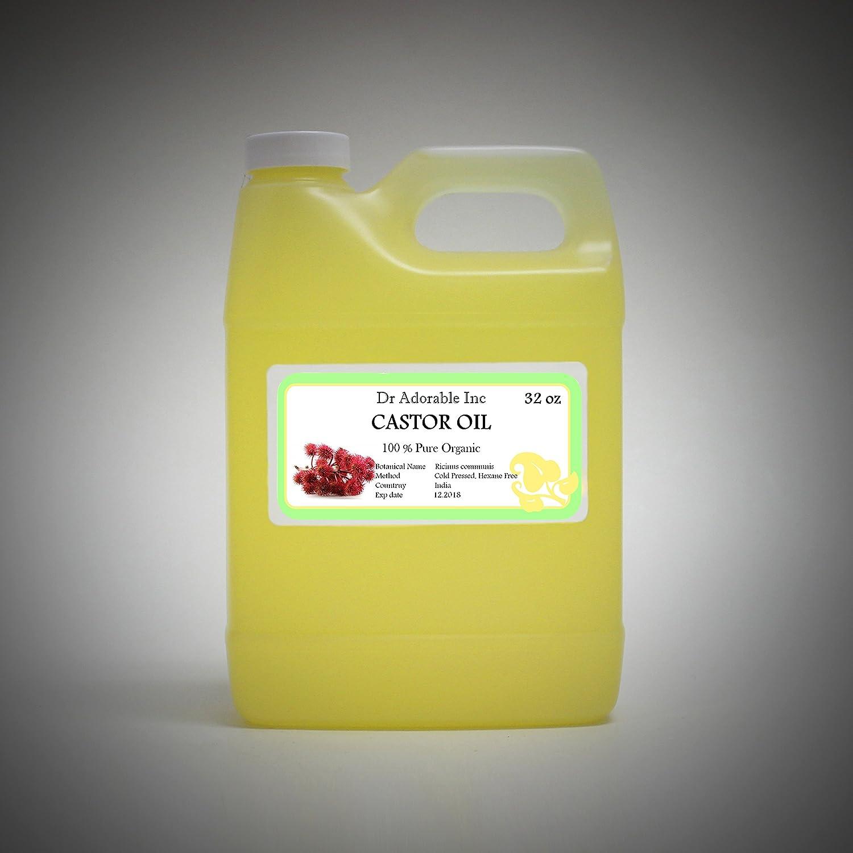 Castor Oil Pure Organic Cold Pressed Virgin by Dr.Adorable 32 Oz/ 1 Quart