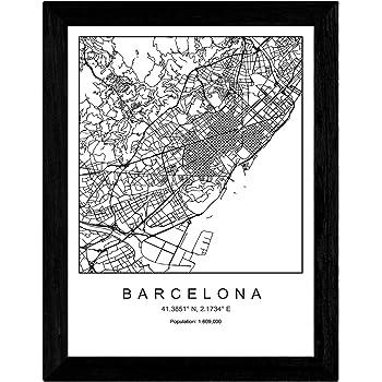 Nacnic Lámina Mapa de la Ciudad Barcelona Estilo nordico en Blanco y Negro. Poster tamaño A3 Sin Marco Impreso Papel 250 gr. Cuadros, láminas y Posters para Salon y Dormitorio: Amazon.es: Hogar