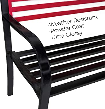 BACKYARD EXPRESSIONS PATIO · HOME · GARDEN 906727 Metal American Flag Patio Front Porch or Park Bench Outdoor, Red/White/Blue