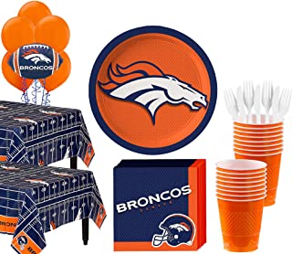 Party City Denver Broncos Super Party Supplies for 36 Guests, Include Plates, Napkins, Table Covers, and Balloons