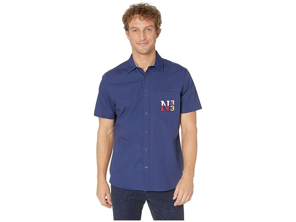 Nautica Short Sleeve Fashion Woven Shirt (J Navy) Men