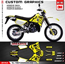 Kungfu Graphics Custom Decal Kit for Yamaha DT125R DT 125 R / DT200R DT 200 R 1988 1989 1990 1991 1992, Yellow White, YMDT208892003-KO