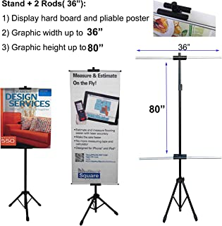 TheDisplayDeal TM Tripod Double-Sided Stand for Banner and Board Sign, Adjustable Size up to 71