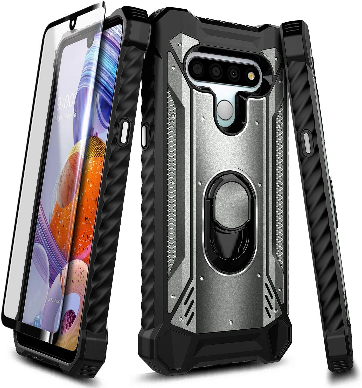 E-Began Case for LG Phoenix 5, LG K31 Rebel L355DL/Aristo 5/K31/Tribute Monarch/LG K8X/Fortune 3/Risio 4 with Tempered Glass Screen Protector, Magnetic Metal Ring Holder, Full-Body Protective -Gray