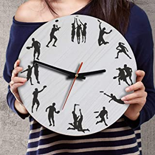 VTH Global 12 Inch Silent Battery Operated Ultimate Frisbee Wood Wall Clocks Gifts for Ultimate Players Team