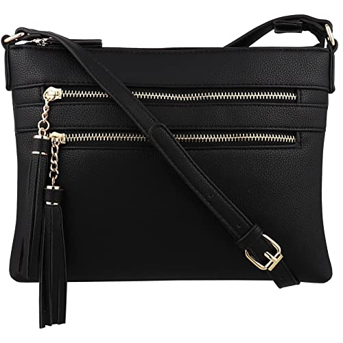 21d895d8b14 B BRENTANO Vegan Multi-Zipper Crossbody Handbag Purse with Tassel Accents
