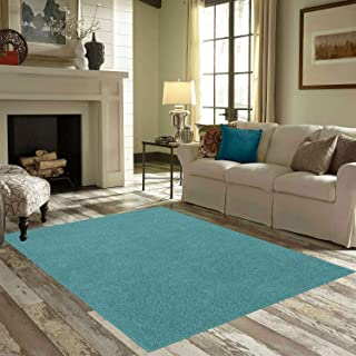 Ambiant Pet Friendly Solid Color Area Rug Teal -3' Square