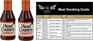 Head Country Apple Habanero BBQ Sauce 20 oz Bundle of 2 with True Edge Smoking Chart