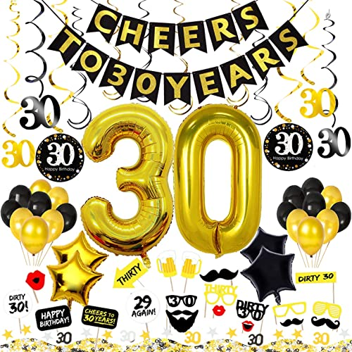 30th Birthday Decorations Kit 74 Pieces CHEERS TO 30 YEARS Banner 40 Inch