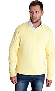 Harvey & Jones Mens New Season Essential V-Neck Cotton Knitted Breathable Jumper Collar Formal Relaxed Casual Layering Off...