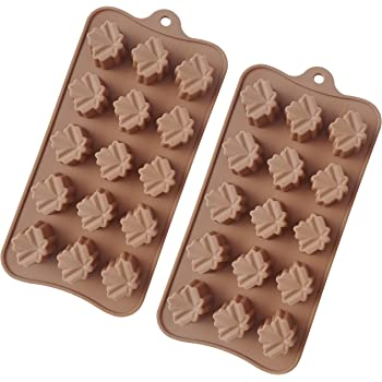 TYH Supplies Set of 2 Maple Leaf Silicone Candy Mold Trays for Chocolate Gummies Ice Soap Butter Brownies Cupcake