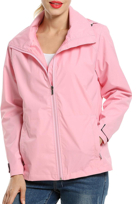 ELESOL Womens Packable Lightweight Hooded Waterproof Active Outdoor Raincoat