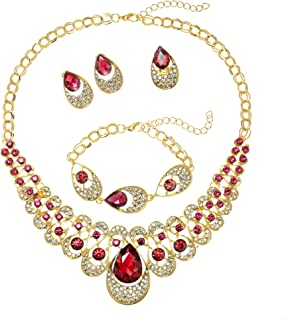 18K Gold Plated Clear/Blue/Red Water Drop Rhinestone Pendant Necklace Bracelet Earrings Ring Jewelry Set for Women Wedding Costume Engagement Statement Accessories
