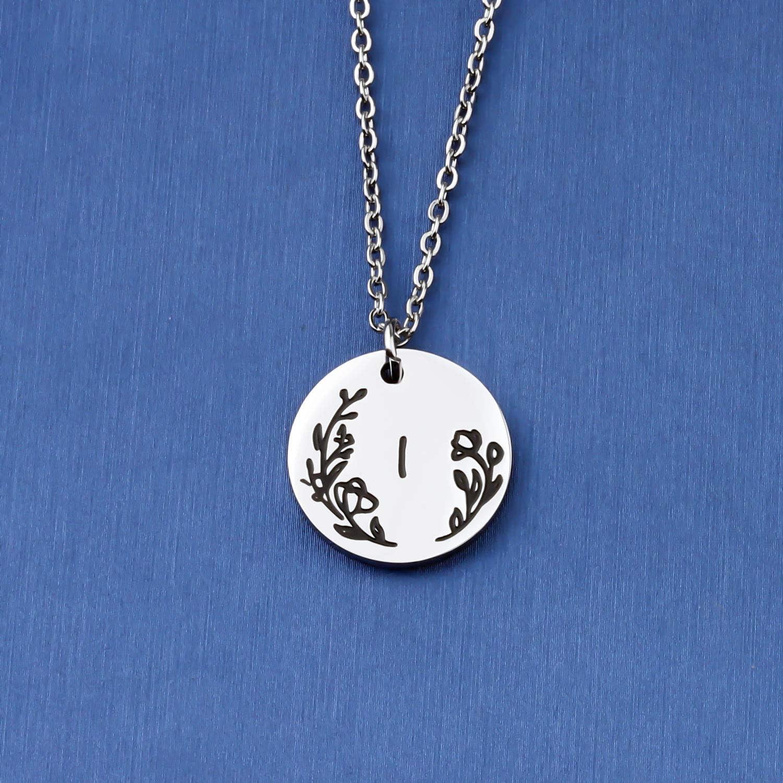 bobauna Flower 26 Letter Initial Alphabet Disc Pendant Necklace Alphabet Personalized Gift