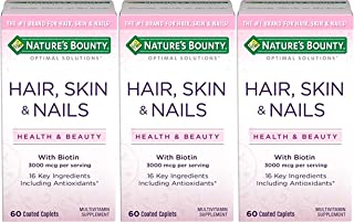 Nature's Bounty Optimal Solutions Hair, Skin & Nails Formula, 180 Coated Caplets (3 X 60 Count)