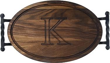 """BigWood Boards W410-STWB-K Oval Cutting Board with Twisted Ball Handle, 12-Inch by 18-Inch by 1-Inch, Monogrammed """"K"""", Walnut"""