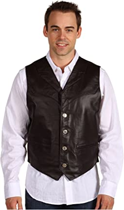 Leather Notch Collar Vest