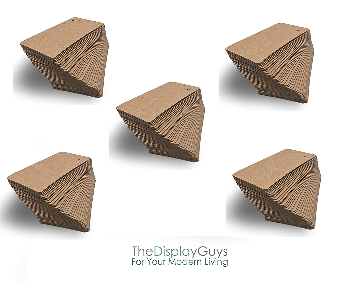 THE DISPLAY GUYS Pack of 500 pcs 2x4 inch (5cmx10xm) Kraft Paper Necklace Display Hanging Cards Jewelry Accessory Display