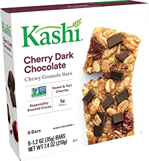 Kashi Chewy Cherry Dark Chocolate Granola Bars - Vegan | 6/1.2OZ Pack of 8