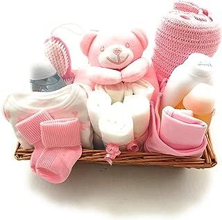Cesta rosa de regalo para recién nacidos