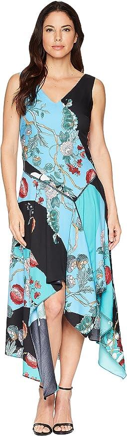 Asymmetrical Hem Mixed Print Sleeveless Dress