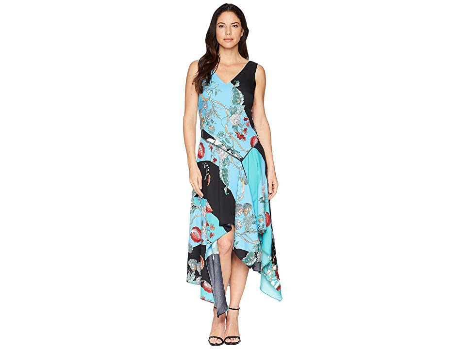 Taylor Asymmetrical Hem Mixed Print Sleeveless Dress (Jade Turquoise) Women