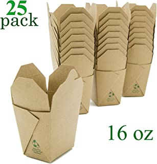 Takeout Food Container Boxes - Microwavable - Pint 16 oz - Pack of 25 - Disposable - Recyclable - Easy Fold and Close Chinese Box - Kraft Brown