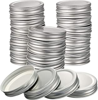 Chuangdi 30 Packs Mason Jar Lids Regular Mouth Leak Proof Secure Mason Storage Solid Caps (Silver)